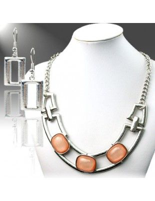 Silver Chain Necklace w/ Peach Oval Stones with matching Earrings
