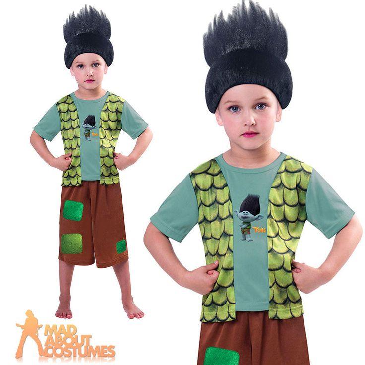 Boys Trolls Costume Branch Fancy Dress Kids Dreamworks Licensed Child Outfit