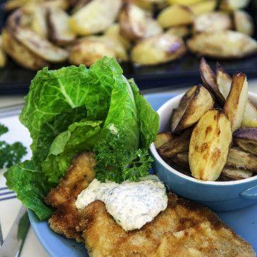 Schnitzel med klyftpotatis