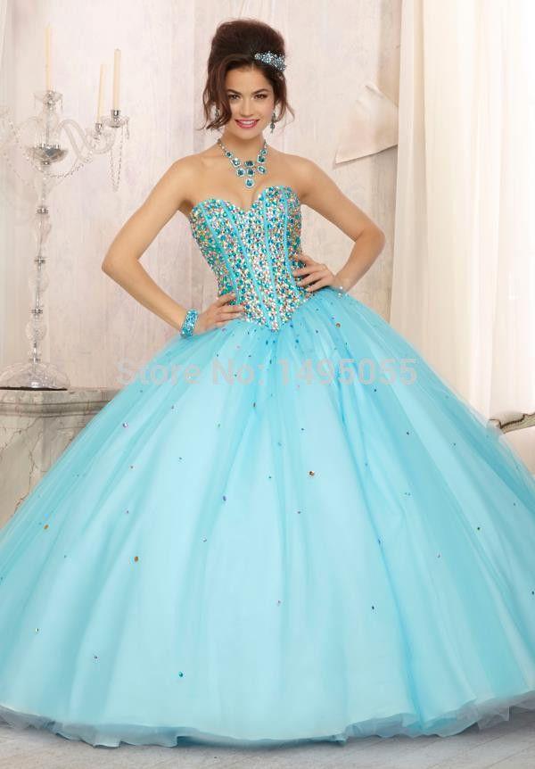 8d0484deb vestidos de 15 años modernos desmontables azul turquesa - Google Search
