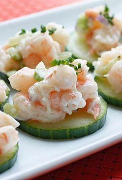 Shrimp Salad on Cucumber Slices | Shrimp Salads, Shrimp and Appetizers