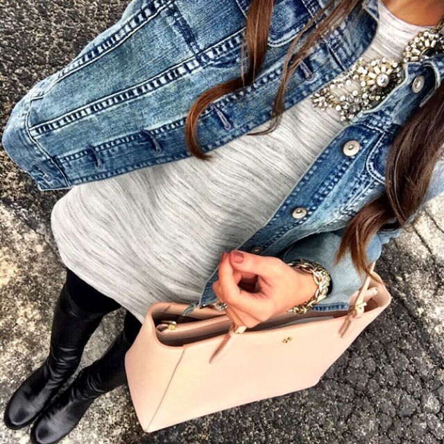 IG @mrscasual <click through to shop this look> Target denim jacket.  Top shop space dye tunic.  Zella live in leggings. Stuart Weitzman 5050 over the knee boots.  Tory Burch york buckle tote.  Statement necklace.