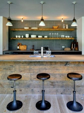 Love the barn siding! White cabinets, barn siding on bar and ceiling!I can picture it!!