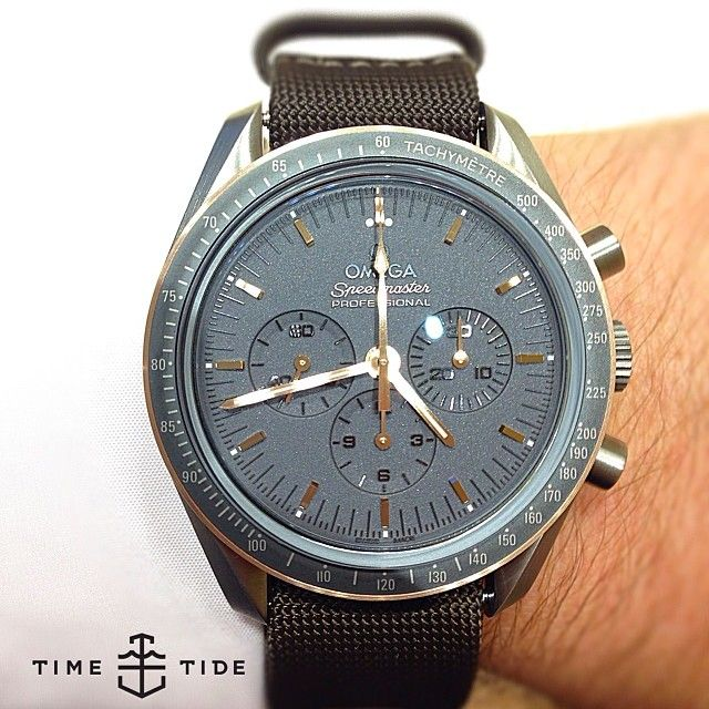 """In the words of Kylie Minigue we just can't get this out of our head; the Ltd Edn Omega Speedmaster Professional """"Moonwatch"""" in grayscale, with a mix of Sedna, rose gold and PVD. The case is 42mm titanium - limited to 1969 pieces, priced well at $7700USD. Hmmmm NOW LIVE ONLINE! - timeandtidewatches.com"""
