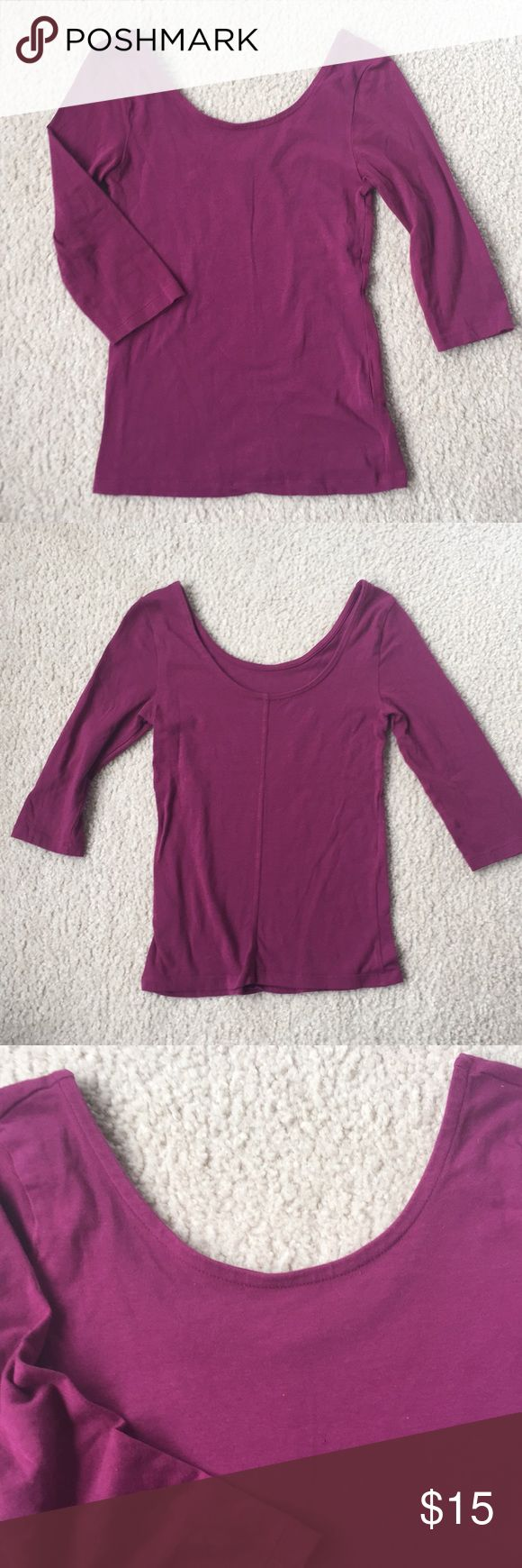 Scoop Neck & Scoop Back Ballet Neck Tee Bongo scoop neck and scoop back fitted ballet-style magenta/purple tee. 3/4 length sleeves. Very stretchy. Only flaw is one tiny hole on the front (see last photo). Would be adorable under a flouncy skirt or tucked into some shorts! BONGO Tops Tees - Long Sleeve