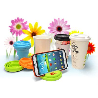 Korea-Silicone-Smart-Phone-Stand-Cup-Lid-Cover-Mug-Tea-Coffee-Eco-Friendly-Reuse
