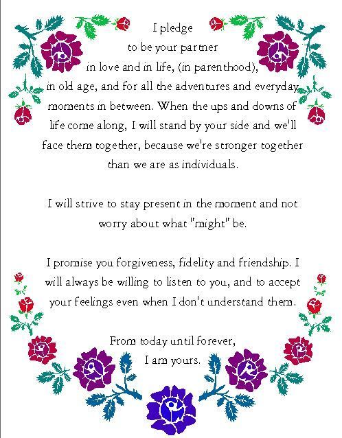 Beautiful Wording For Wedding Vows