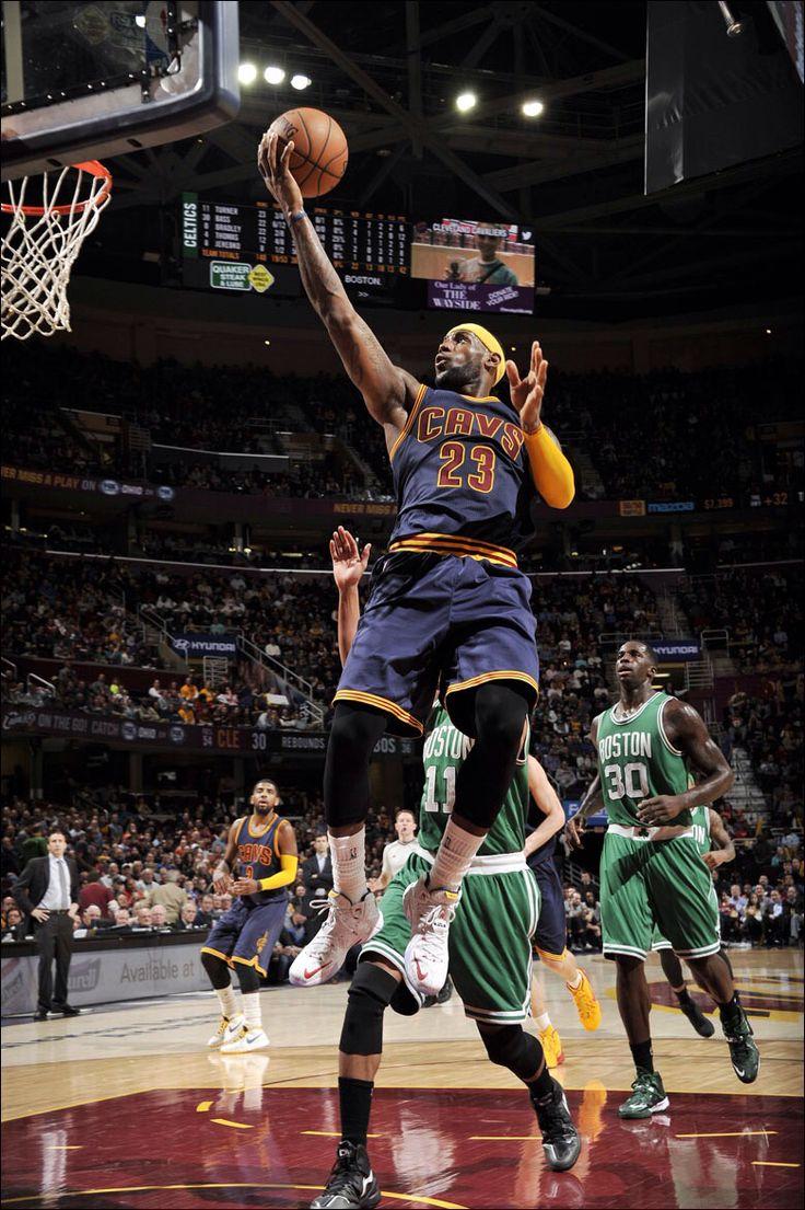 LeBron goes up for the shot vs the Boston Celtics. Cavs won 79 to