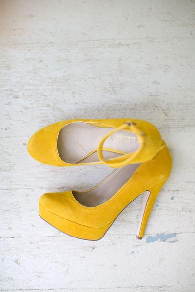 we ❤ this!  moncheribridals.com  #weddingshoes #yellowweddingshoes