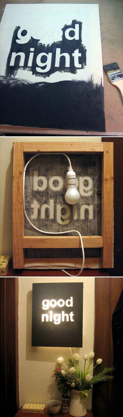"""Good Night"" Night Light. Canvas light wall hanging."