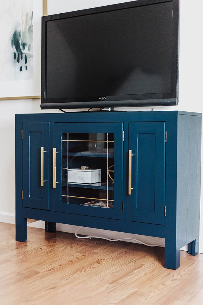 From Bland To Glam On A Budget Tv Console Diy Hemnes Tv Stand Ikea Hemnes Tv Stand Blue Tv Stand