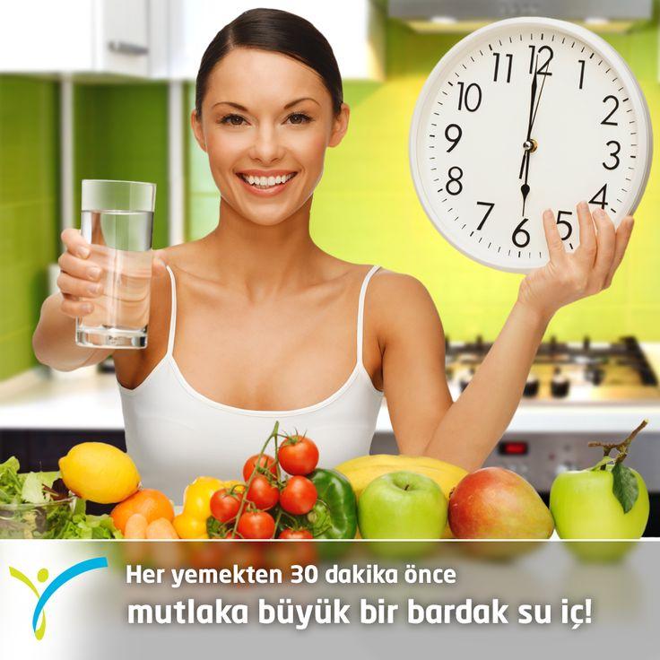 Günün beslenme tüyosu:  Her yemekten 30 dakika önce mutlaka büyük bir bardak su iç :)