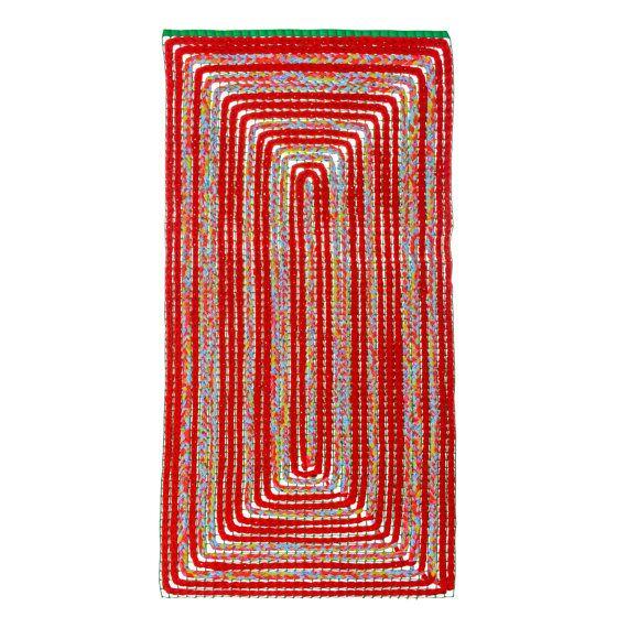 Red Hand Crochet Rug Rectangle Rug Summer Mat by chrysanthimertz