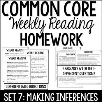Common Core Weekly Reading Homework {Set 7: Making