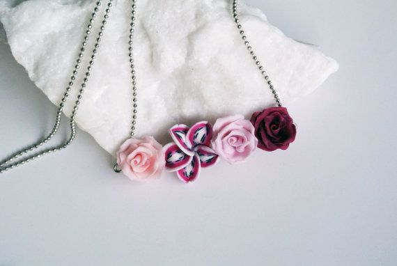 Dark red rose necklace, Burgundy necklace, red flower statement, marsala jewelry…