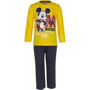 Disney kinderpyjama van CorazonKids Mickey Mouse M for Mickey Geel. Dit is een kinderpyjama met een zwarte broek voor de koude winter dagen. De trui heeft een ronde halslijn, lange mouwen en een grote print opdruk van Mickey mouse. De Disney kinderpyjama van CorazonKids Mickey Mouse M for Mickey Geel heeft een zwarte lange broek die is voorzien van een elastische tailleband.