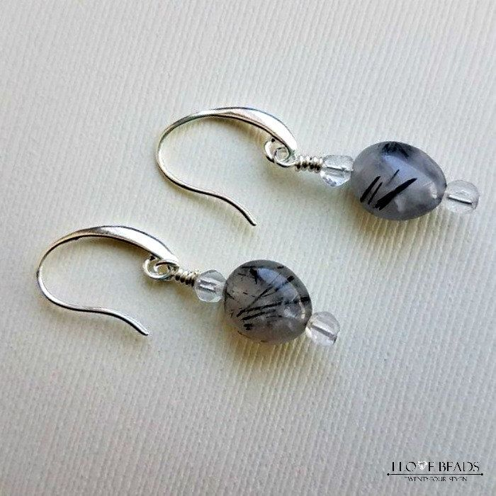 tourmaline quartz earrings -tourmalated quartz earrings on silver- black tourmaline quartz earrings-rutilated black quartz earrings