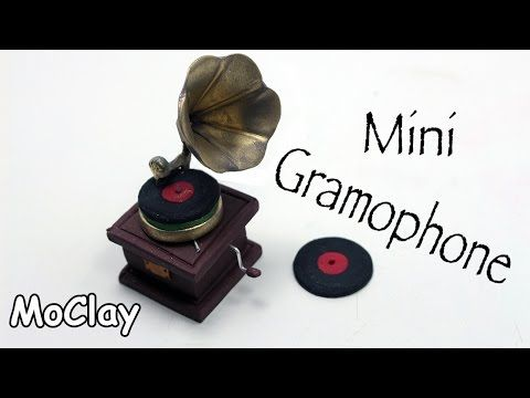 DIY - How to make a Miniature Gramophone - Polymer clay tutorial - YouTube