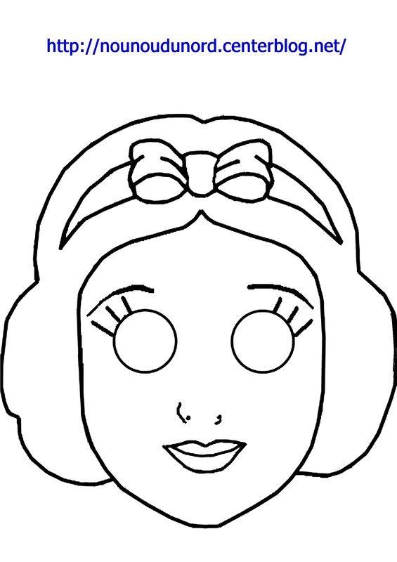 Masque Blanche neige à imprimer dessiné par nounoudunord