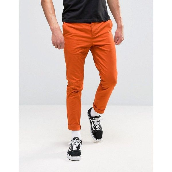 ASOS Skinny Chinos In Burnt Orange (1.125 RUB) ❤ liked on Polyvore featuring men's fashion, men's clothing, men's pants, men's casual pants, brown, mens skinny fit dress pants, mens tall pants, mens chinos pants, mens brown pants and mens chino pants