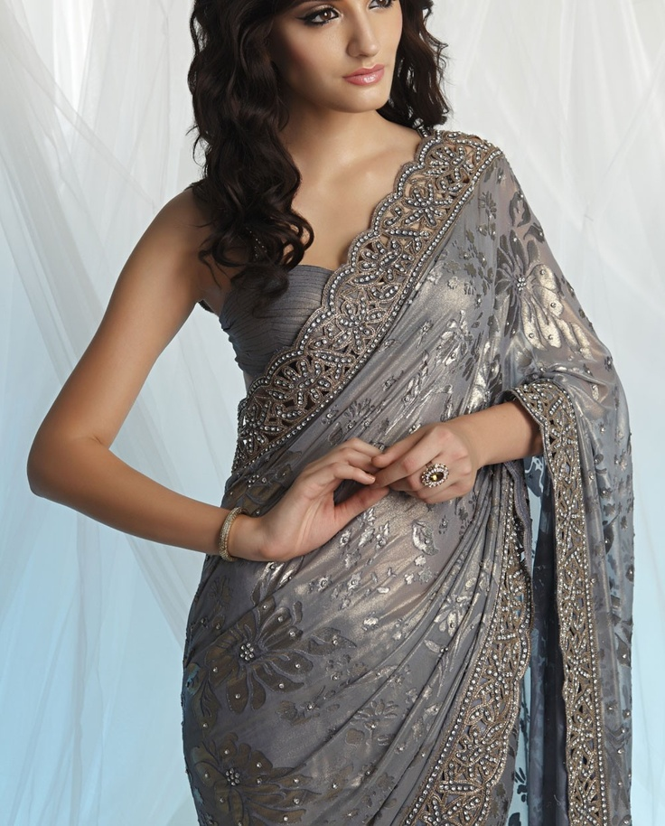 Georgette brasso grey saree. Website : http://www.bhartistailors.com/ Email : arvin@bhartistailors.com