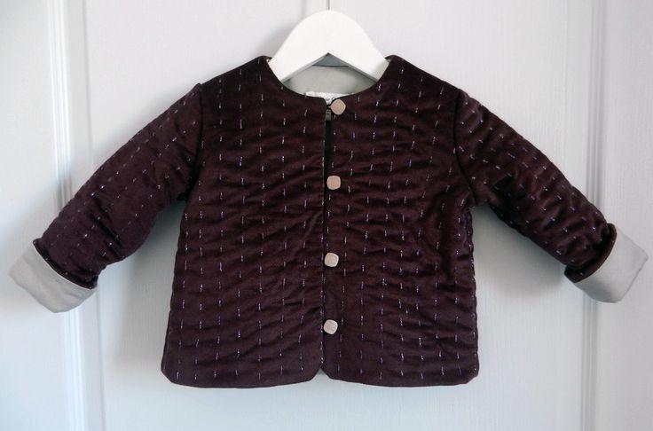 Duchesse or ange veste bebe velours grenat satin de coton gris molleton baby padded jacket velvet purple grey
