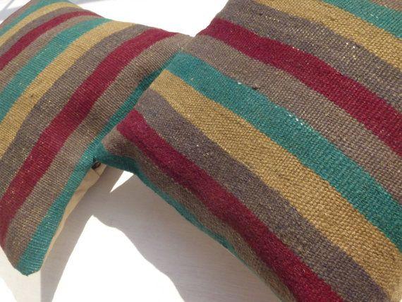 Decorative Throw Pillows Wool Kilim Pillows by PillowTalkOnEtsy, $52.00