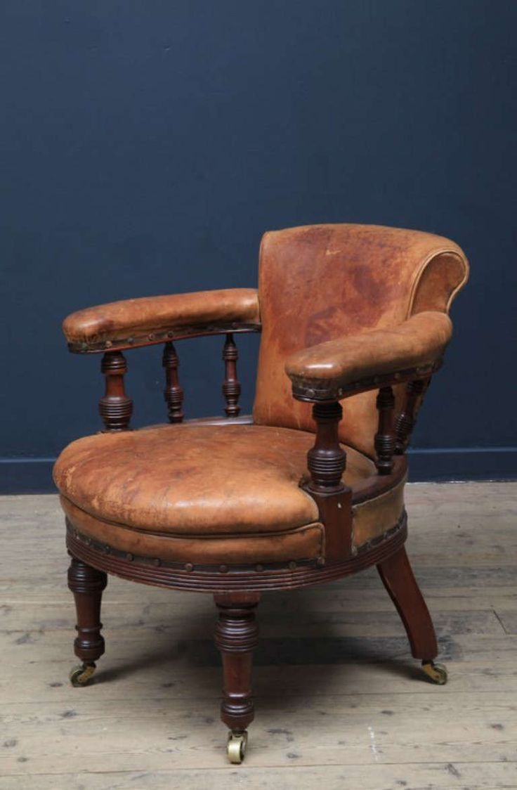 Antique bucket chair - A Leather Desk Chair Original Untouched Condition Including Leather
