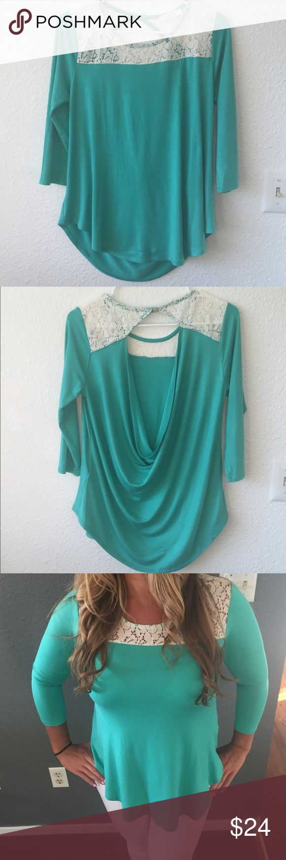 On hold*****Aqua lace hole back blouse Amazing blouse!! Could be worn as business casual or night out! Tops Blouses