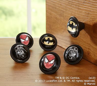 Batman, Spider-Man &Star Wars Knobs #westelm (I could probably make something similar for the entertainment stand)