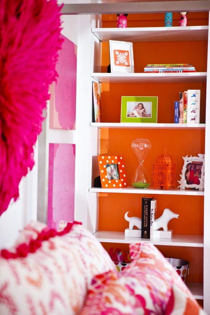Tip: Paint the wall behind shelves for a fun pop of color! #kidsroomOrange Room, Kids Room, Kidsroom, Girls Room, Room Ideas, Hot Pink, Room Colors Schemes, Dreams Room, Teen Room