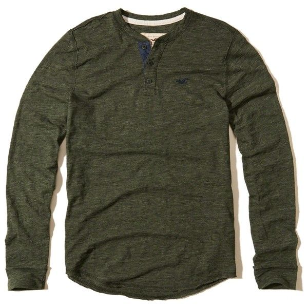 Hollister Textured Icon Henley ($30) ❤ liked on Polyvore featuring men's fashion, men's clothing, men's shirts, olive, henleys mens clothing, mens slim fit long sleeve t shirts, mens olive green shirt, mens longsleeve shirts and men's curved hem t shirt