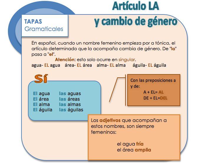 Artículo LA y cambio de género Learn Spanish / Spanish vocabulary / Spanish grammar
