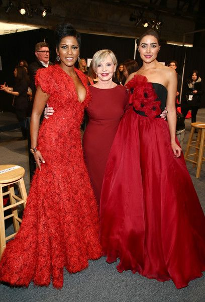 Tamron Hall Photos Photos - (L-R) TV personality Tamron Hall, actress Florence Henderson, and actress Olivia Culpo pose backstage at The American Heart Association's Go Red For Women Red Dress Collection 2016 Presented By Macy's at The Arc, Skylight at Moynihan Station on February 11, 2016 in New York City. - The American Heart Association's Go Red for Women Red Dress Collection 2016 Presented by Macy's - Backstage