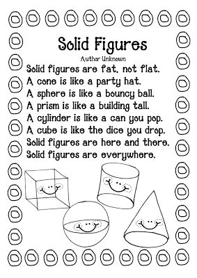 "I've taught this but substituted ""solid shapes"" for ""3d shapes"""