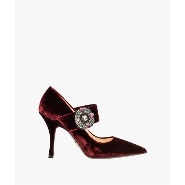 Prada Velvet Mary Jane Pumps (€825) ❤ liked on Polyvore featuring shoes, pumps, red, red shoes, red velvet pumps, red pumps, red mary jane shoes and mary-jane shoes