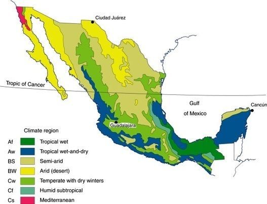 Mexico's seven climate regions | Geo-Mexico, the geography of Mexico