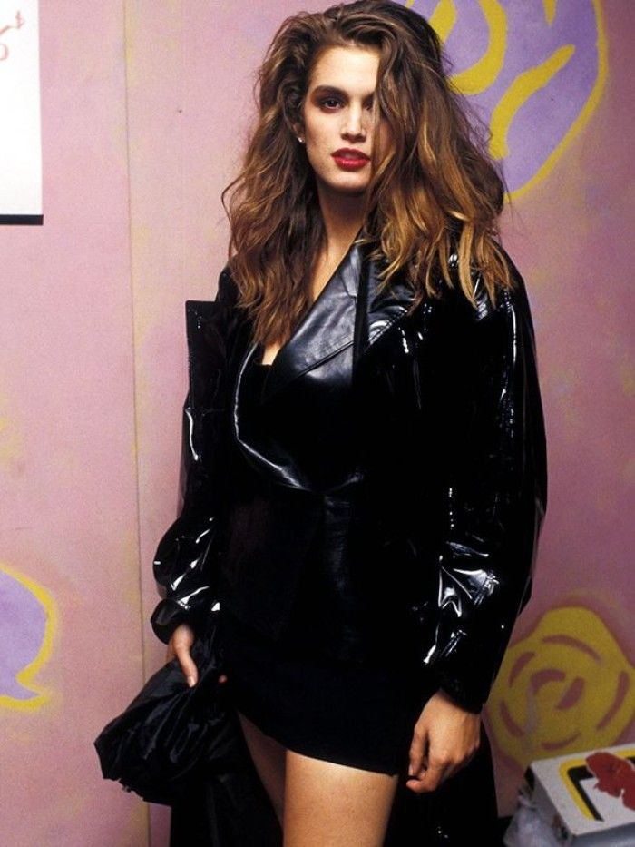 Shiny Black Vinyl And Leather Jacket Worn Over A Black Mini Dress By A Young Cindy Crawford 80 S Dress Up Ideas Mess 80s Fashion 80s Fashion Trends Fashion