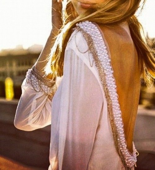 : Fashion, Style, Backless Dresses, Shirts, Pearls, Beads, The Dresses, Open Back, Back Details