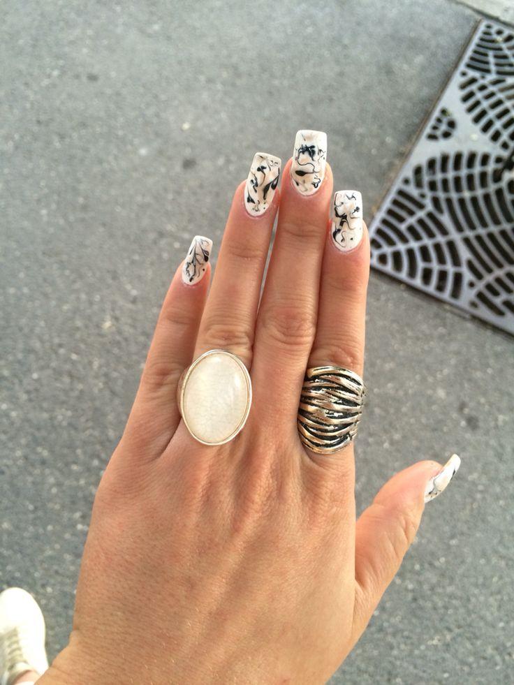 #nail #nails #black #beige #white #paintsplashes