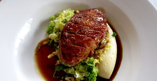Roast Norfolk Gressingham Duck breast, fried savoy cabbage and fondant potatoes with thyme and red wine reduction. http://www.fabulousnorfolk.co.uk/norfolk-gressingham-duck-recipe/