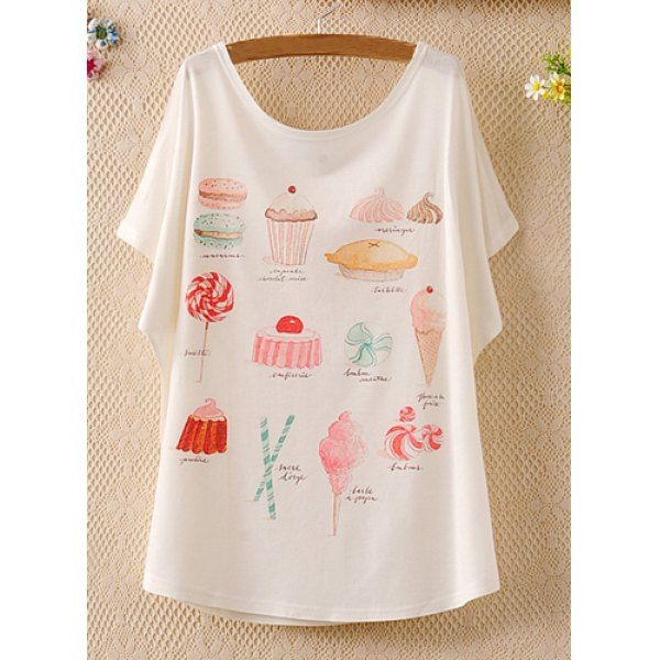 Ice Cream Print Laconic Scoop Neck Batwing Sleeve Women's T-Shirt, WHITE, ONE SIZE in Tees & T-Shirts | DressLily.com