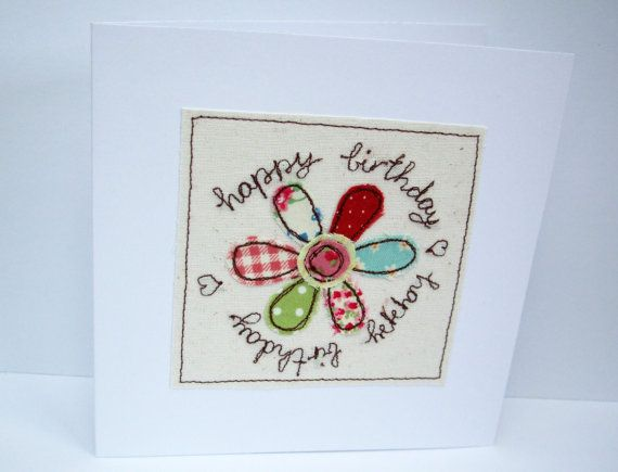 Birthday Card with Embroidered patchwork Flower by Nikelcards, £3.20