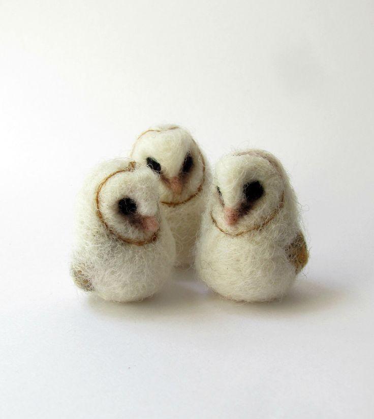 Baby barn owl by HandmadeByNovember on Etsy https://www.etsy.com/listing/239175653/baby-barn-owl
