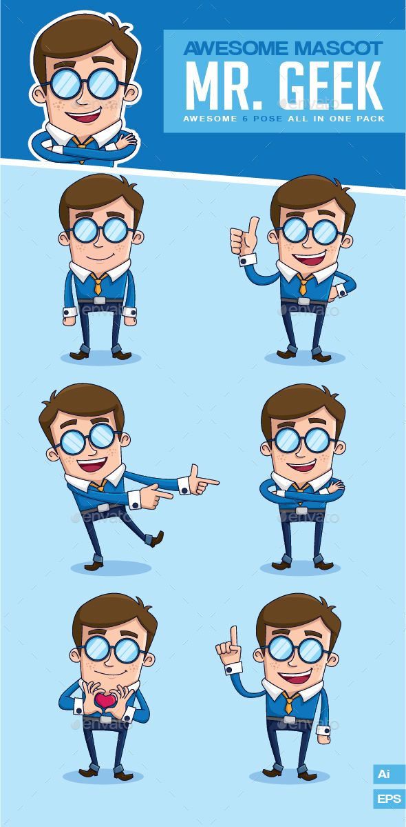 Mr. Geek Mascot Vector Pack