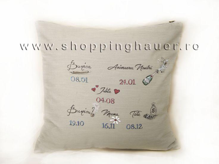 Reminder pillow. Hand painted  with permanent and waterproof colors.  Unique gifts. Pernuta reminder  pictata manual cu vopsea permanenta si rezistenta la spalat. O idee grozava foarte apreciata in special  de barbati