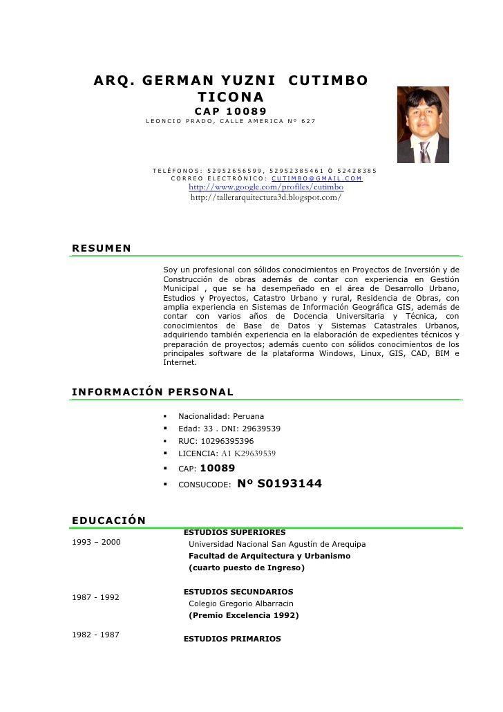 Modelo De Curriculum Vitae No Documentado En Word Modelo De Curriculum Vitae Abs