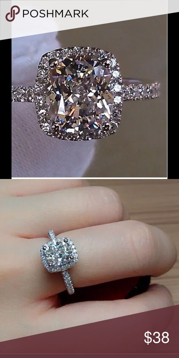 Beautiful 3 karat cz silver ring Stunning cz in stamped 925 silver...what a beauty 💕 Jewelry Rings