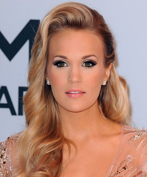 Carrie Underwood Hairstyle - Formal Long Wavy. Try on this hairstyle for FREE and view styling steps! http://www.thehairstyler.com/hairstyles/formal/long/wavy/Carrie-Underwood-long-over-the-shoulder-formal-hairstyle