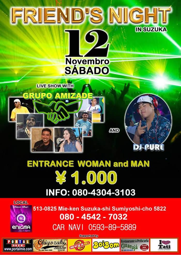 Balada internacional com show ao vivo do Grupo Amizade tocando sucessos da samba e pagode e nos intervalos DJ Pure mandando seus melhores sets de all mix! Não perca!!!!
